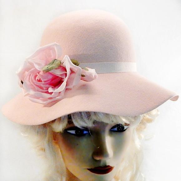 2b12dbc8d255e Mrs Bierner Accessories | Vintage Pink Rose Wool Felt Floppy Hat ...